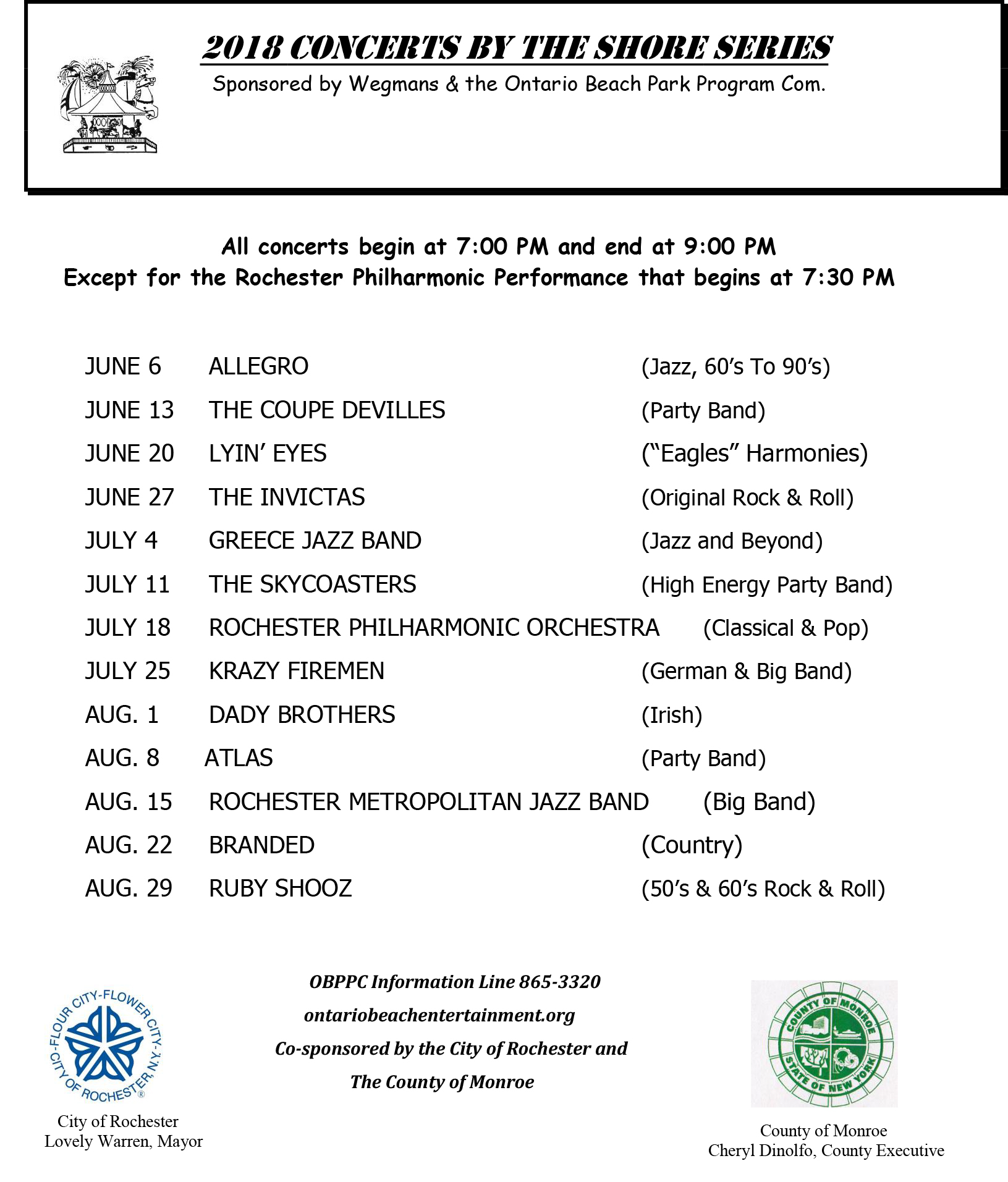 2018 Concerts by the Shore Schedule